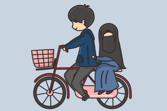 Download Free Muslim Character Vector Illustration Graphic By for Cricut Explore, Silhouette and other cutting machines.