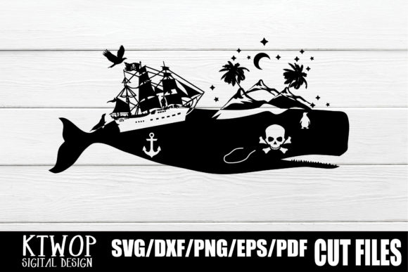Print on Demand: Nature X Animal Series 2020 Whale Pirate Gráfico Crafts Por KtwoP