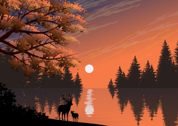 Natural Landscape. Illustration. Graphic Backgrounds By americodealmeida
