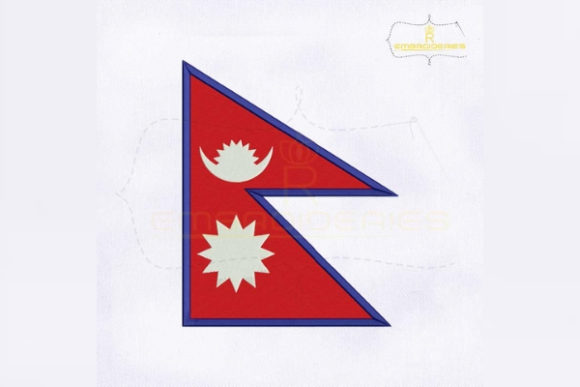 Nepal Flag Asia Embroidery Design By RoyalEmbroideries