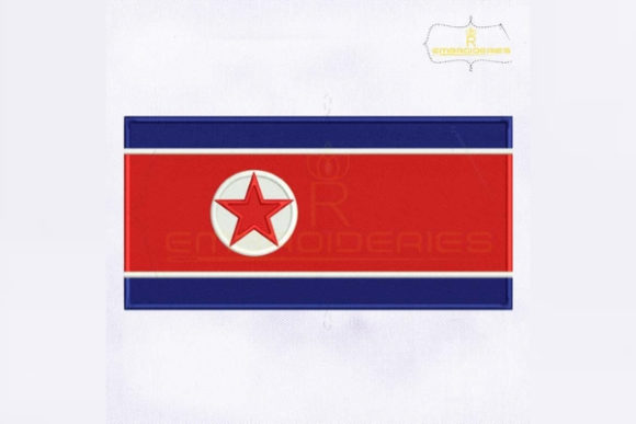 North Korea Flag Asia Embroidery Design By RoyalEmbroideries