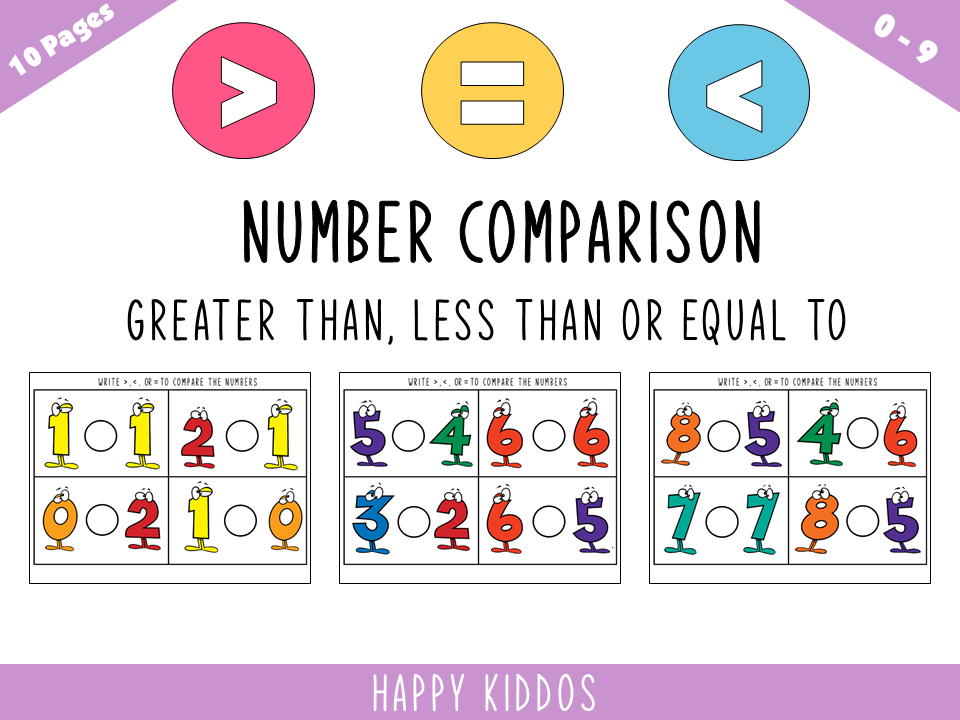 Download Free Number Comparison Worksheets Graphic By Happy Kiddos Creative for Cricut Explore, Silhouette and other cutting machines.