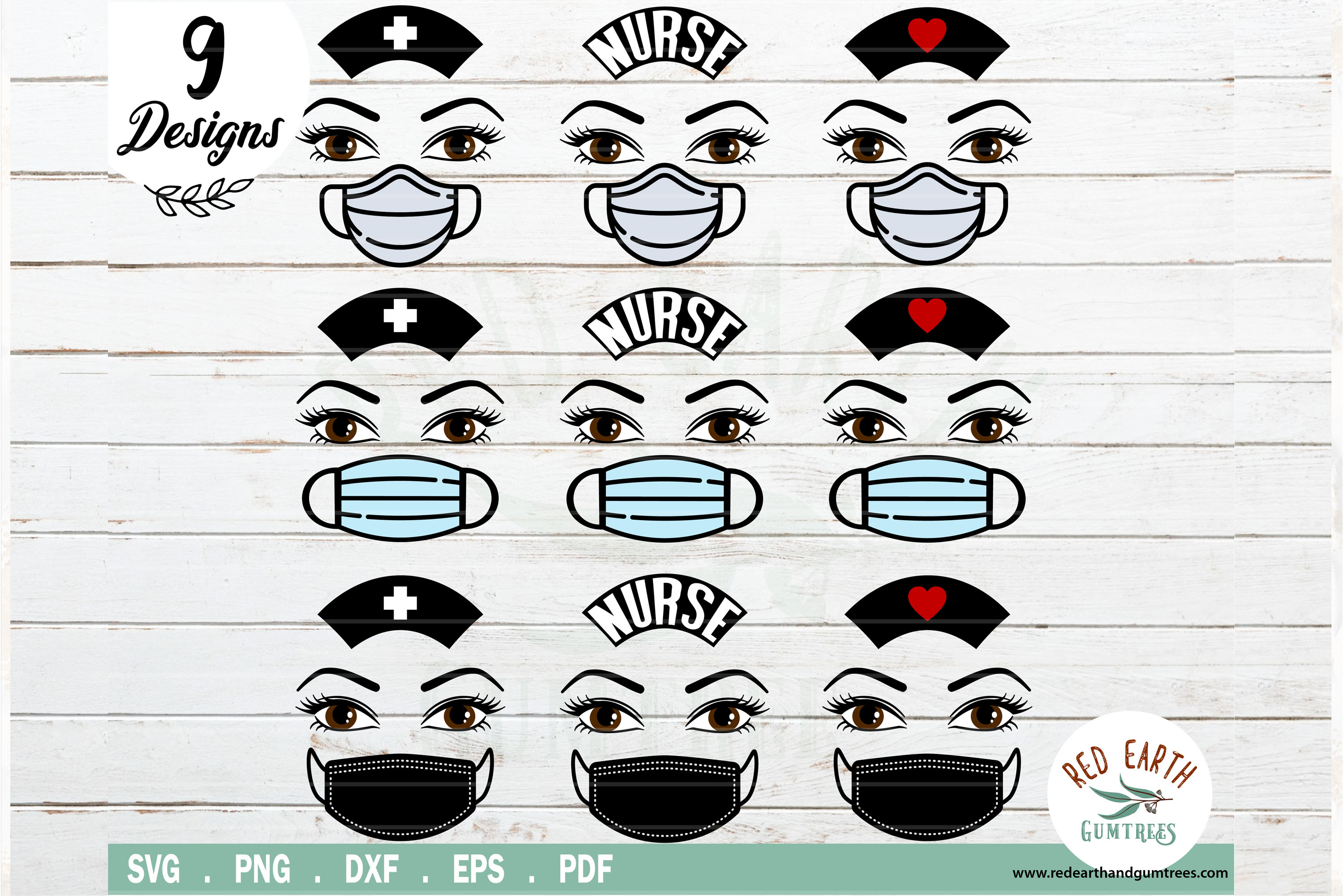 Download Free Nurse Mask Hat And Lashes Bundle Graphic By Redearth And for Cricut Explore, Silhouette and other cutting machines.