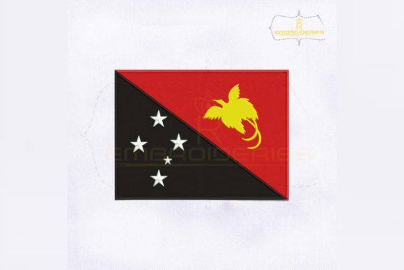 Papua New Guinea Flag Asia Embroidery Design By RoyalEmbroideries