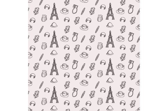 Download Free Paris Seamless Pattern Doodle Graphic By Firdausm601 Creative for Cricut Explore, Silhouette and other cutting machines.