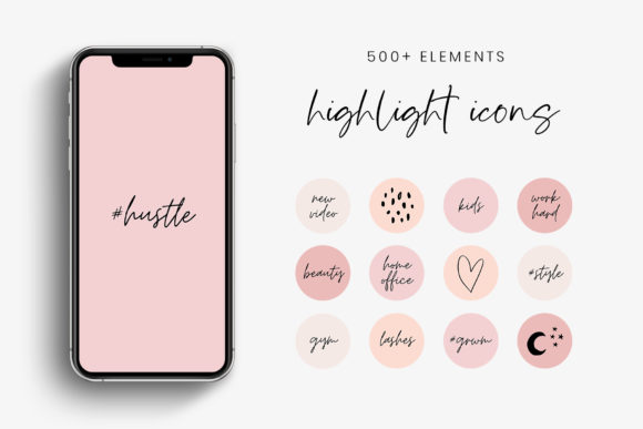 Pink and Peach IG Story Highlight Icons Gráfico Iconos Por StylishDesign