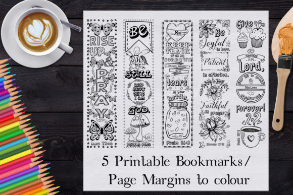 Download Free Printable Colouring Bookmarks Set 2 Graphic By Words Count for Cricut Explore, Silhouette and other cutting machines.