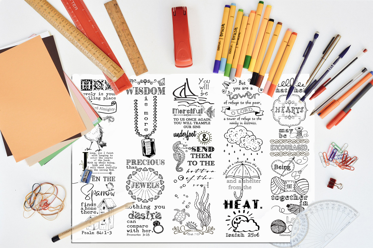 Download Free Printable Colouring Bookmarks Set 3 Graphic By Words Count for Cricut Explore, Silhouette and other cutting machines.