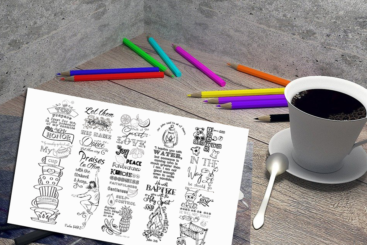 Download Free Printable Colouring Bookmarks Set 4 Graphic By Words Count for Cricut Explore, Silhouette and other cutting machines.