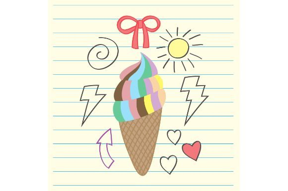 Download Free Rainbow Ice Cream Drawing Graphic By Firdausm601 Creative Fabrica for Cricut Explore, Silhouette and other cutting machines.