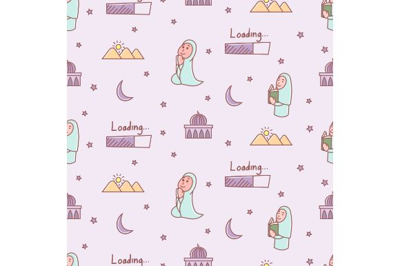 Download Free Ramadan Cartoon Seamless Pattern Graphic By Firdausm601 for Cricut Explore, Silhouette and other cutting machines.