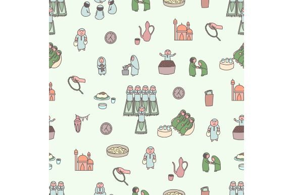 Download Free Ramadan Seamless Pattern Cartoon Doodle Graphic By Firdausm601 for Cricut Explore, Silhouette and other cutting machines.