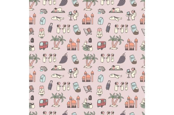 Print on Demand: Ramadan Seamless Pattern, Cartoon Doodle Graphic Icons By firdausm601
