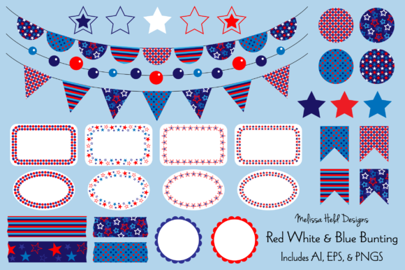 Download Free Red White Blue Bunting Labels Graphic By Melissa Held Designs for Cricut Explore, Silhouette and other cutting machines.