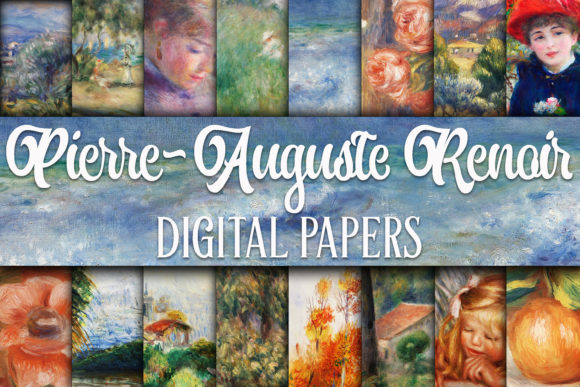 Print on Demand: Renoir Paintings Digital Papers Graphic Backgrounds By oldmarketdesigns - Image 1