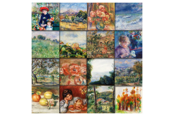 Print on Demand: Renoir Paintings Digital Papers Graphic Backgrounds By oldmarketdesigns - Image 2