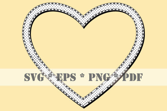 Download Free Retro Heart Black White Frame Halftone Graphic By Graphicsfarm for Cricut Explore, Silhouette and other cutting machines.