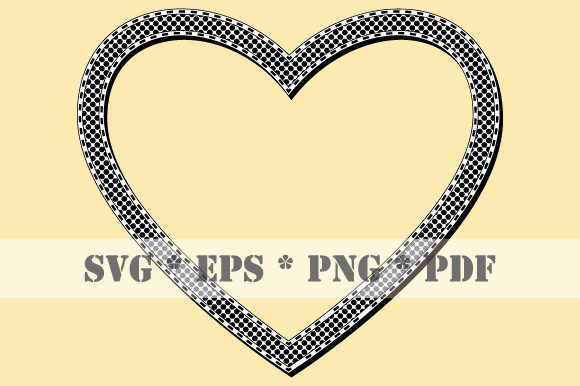 Download Free Retro Heart Black White Frame Halftone Graphic By Graphicsfarm Creative Fabrica for Cricut Explore, Silhouette and other cutting machines.