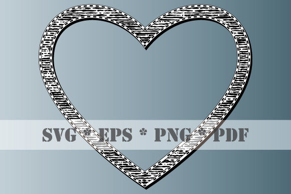 Download Free Retro Heart Black White Frame Vintage Graphic By Graphicsfarm for Cricut Explore, Silhouette and other cutting machines.