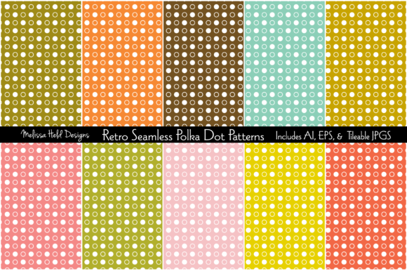 Download Free Retro Seamless Polka Dot Patterns Graphic By Melissa Held for Cricut Explore, Silhouette and other cutting machines.
