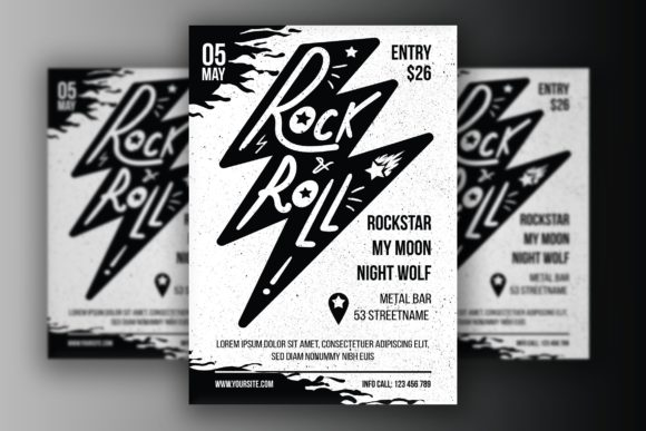 Download Free Rock N Roll Poster Graphic By Barsrsind Creative Fabrica for Cricut Explore, Silhouette and other cutting machines.