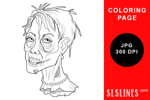 Print on Demand: Rotting Female Zombie Head Coloring Graphic Coloring Pages & Books Adults By SLS Lines