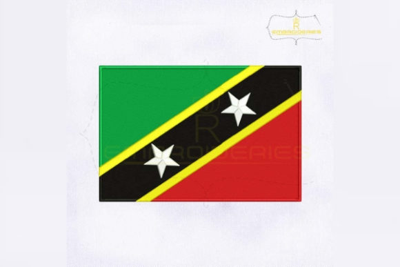 Saint Kitts and Nevis Flag North America Embroidery Design By RoyalEmbroideries