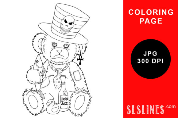 Print on Demand: Scruffy Goth Teddy Bear Coloring Page Graphic Coloring Pages & Books Adults By SLS Lines