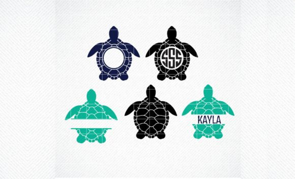 Download Free Sea Turtle Monogram Frame Graphic Graphic By Svg Den Creative for Cricut Explore, Silhouette and other cutting machines.