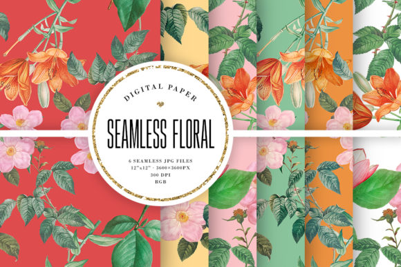 Print on Demand: Seamless Floral Patterns Graphic Patterns By Sabina Leja