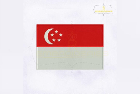 Singapore Flag Asia Embroidery Design By RoyalEmbroideries