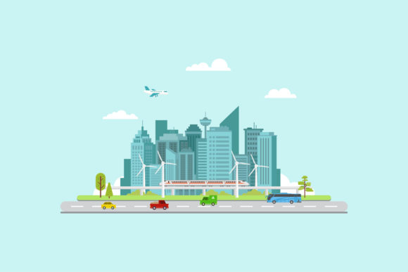 Download Free Smart City Flat Design Graphic By Sabavector Creative Fabrica for Cricut Explore, Silhouette and other cutting machines.