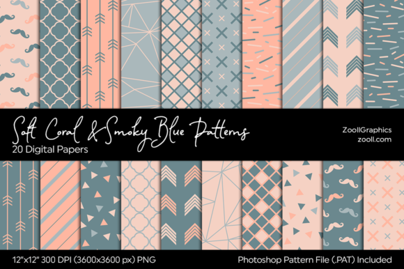 Soft Coral & Smoky Blue Digital Papers Graphic Patterns By ZoollGraphics