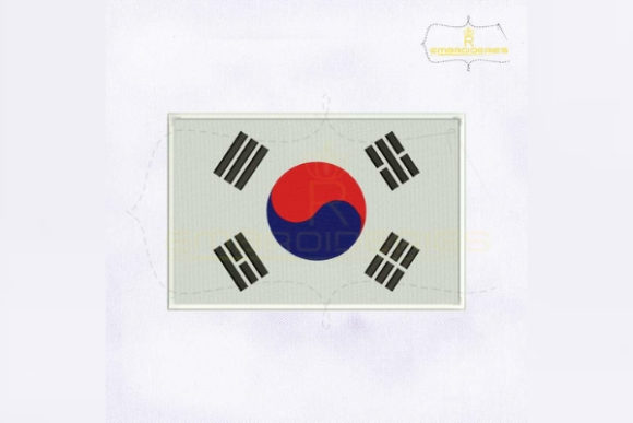 South Korea Flag Asia Embroidery Design By RoyalEmbroideries