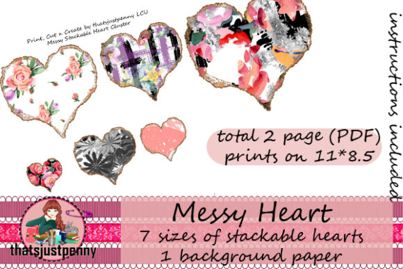 Stackable Hearts Rose Print Cut N Create Graphic By