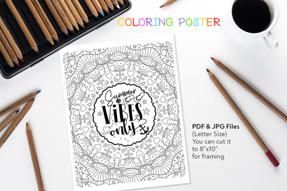 Summer Vibes Only - Coloring Page Graphic Coloring Pages & Books Adults By danieladoychinovashop