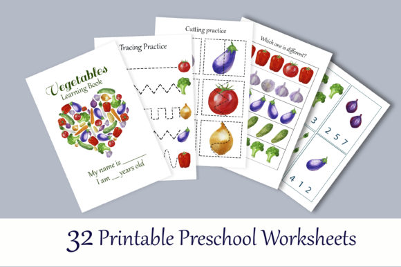 Download Free Toddler Vegetables Learning Workbook Graphic By S Yanyeva for Cricut Explore, Silhouette and other cutting machines.