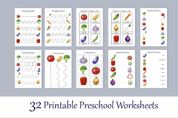 Print on Demand: Toddler Vegetables Learning Workbook Graphic Teaching Materials By s.yanyeva - Image 2