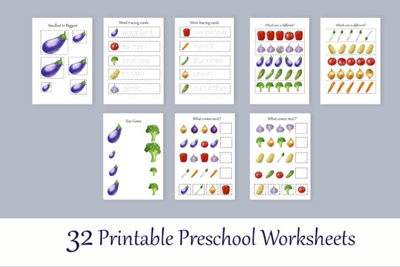 Print on Demand: Toddler Vegetables Learning Workbook Graphic Teaching Materials By s.yanyeva - Image 3