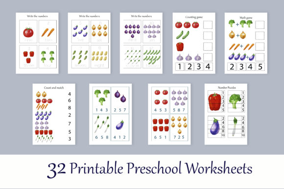 Print on Demand: Toddler Vegetables Learning Workbook Graphic Teaching Materials By s.yanyeva - Image 4