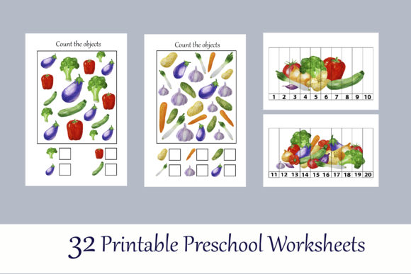 Toddler Vegetables Learning Workbook Graphic Preview