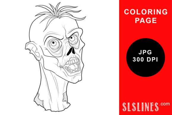 Print on Demand: Ugly Zombie Head Coloring Page Graphic Coloring Pages & Books Adults By SLS Lines