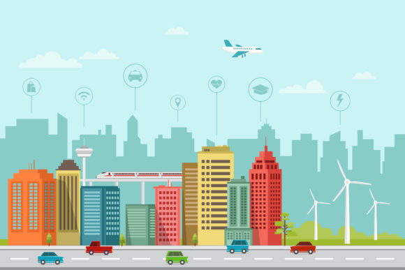Download Free Urban Smart City Illustration Design Graphic By Sabavector for Cricut Explore, Silhouette and other cutting machines.