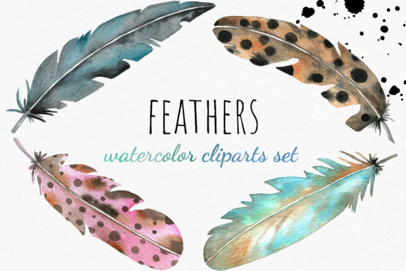 Watercolor Feather Cliparts Graphic Illustrations By RedDotsHouse