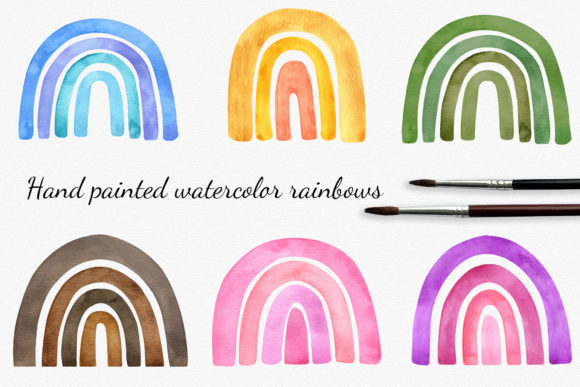 Watercolor Rainbow Cliparts Set Graphic Illustrations By RedDotsHouse