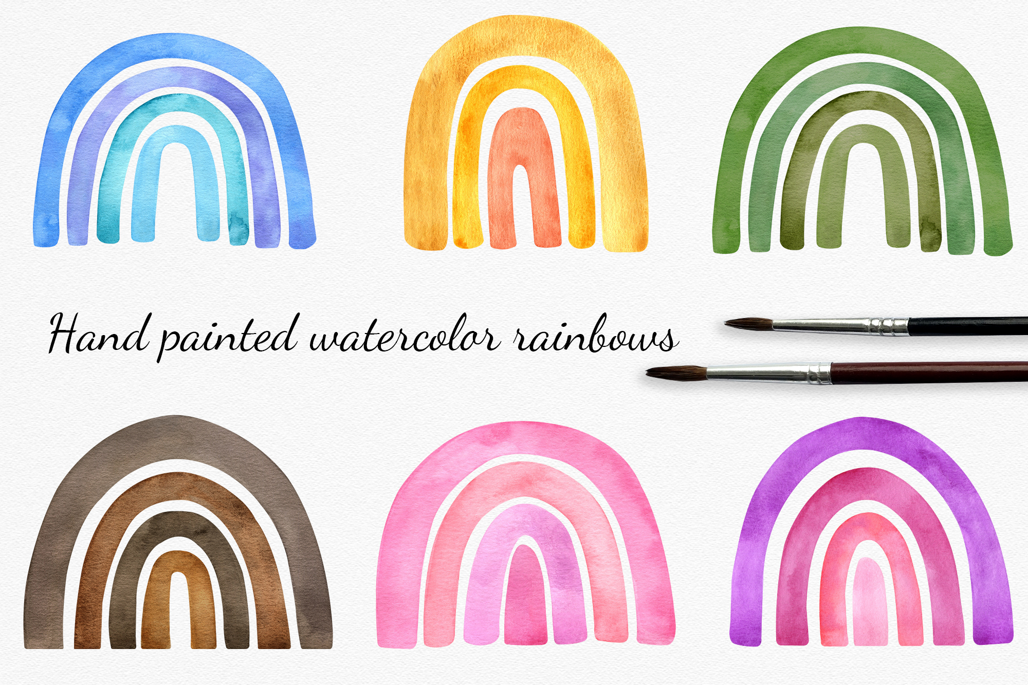 Download Free Watercolor Rainbow Cliparts Set Graphic By Reddotshouse for Cricut Explore, Silhouette and other cutting machines.