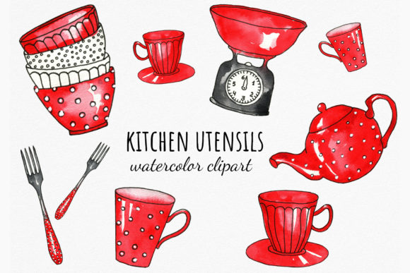 Watercolor Red Kitchenware Cliparts Graphic Illustrations By RedDotsHouse