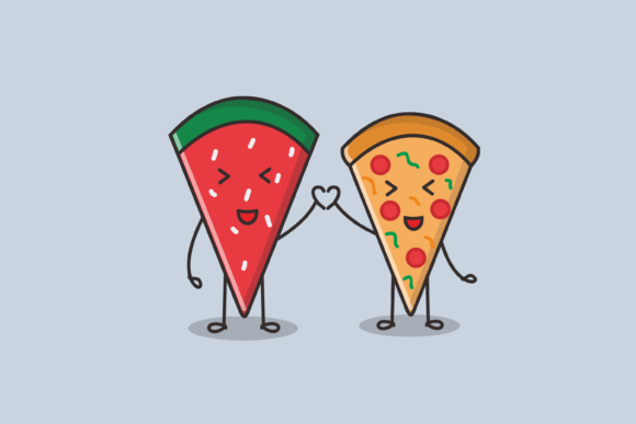 Print on Demand: Watermelon and Pizza Slice Graphic Illustrations By nuraisyahamalia1729