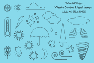 Weather Symbols Digital Stamps Graphic Icons By Melissa Held Designs