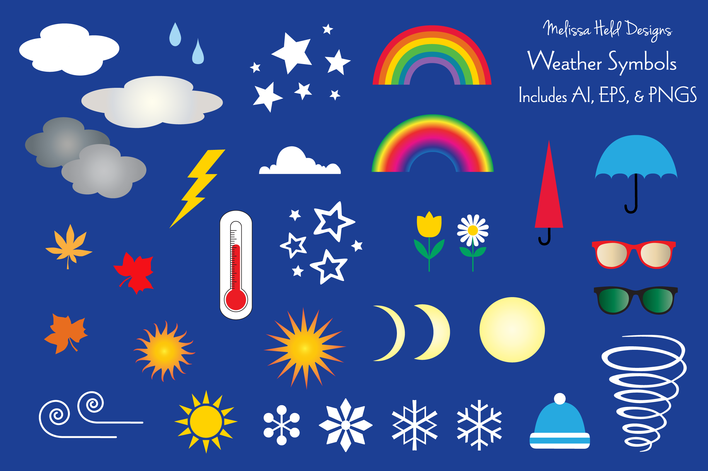 Download Free Weather Symbols Graphic By Melissa Held Designs Creative Fabrica for Cricut Explore, Silhouette and other cutting machines.